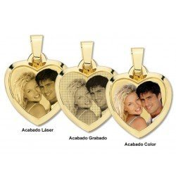 Photo engraving on heart gold plate