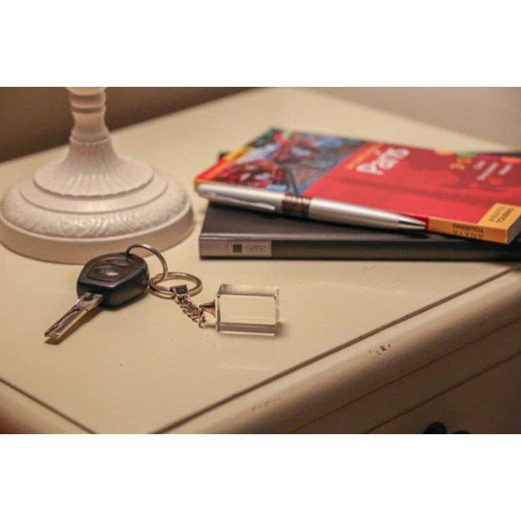 Porte-clés cristal personnalisé avec gravure 2D ou 3D