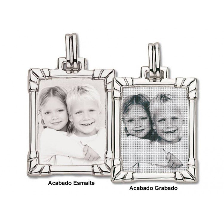 copy of Photo engraving on rectangular badge silver plate
