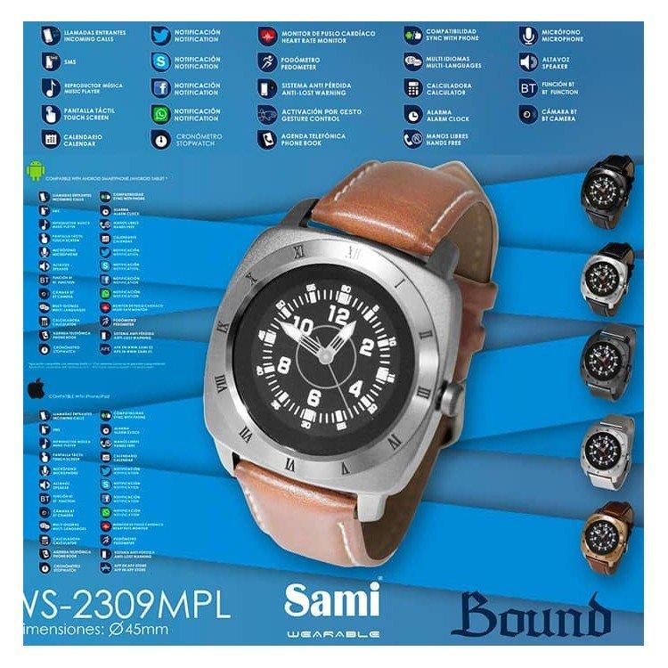 Smartwatch da uomo Sami WS-2309 con cinturino in pelle