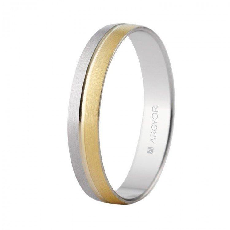 Alianza de boda en oro de ley 18 quilates.Combinada oro amarillo y blanco.