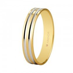 Two-tone wedding ring in 18 karat white and yellow gold