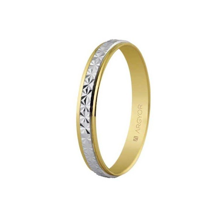 Wedding ring in two faceted golds