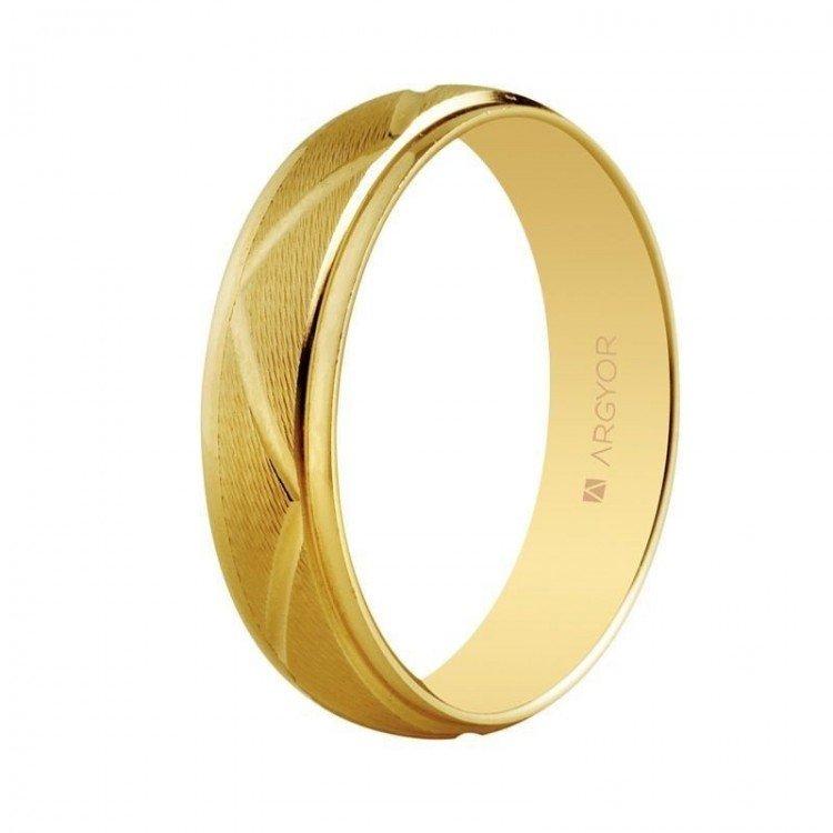 Aliança em ouro de 18 kt com design zig zag