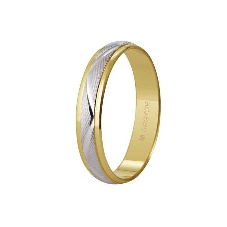 Wedding ring in 18 carat gold combined yellow and white