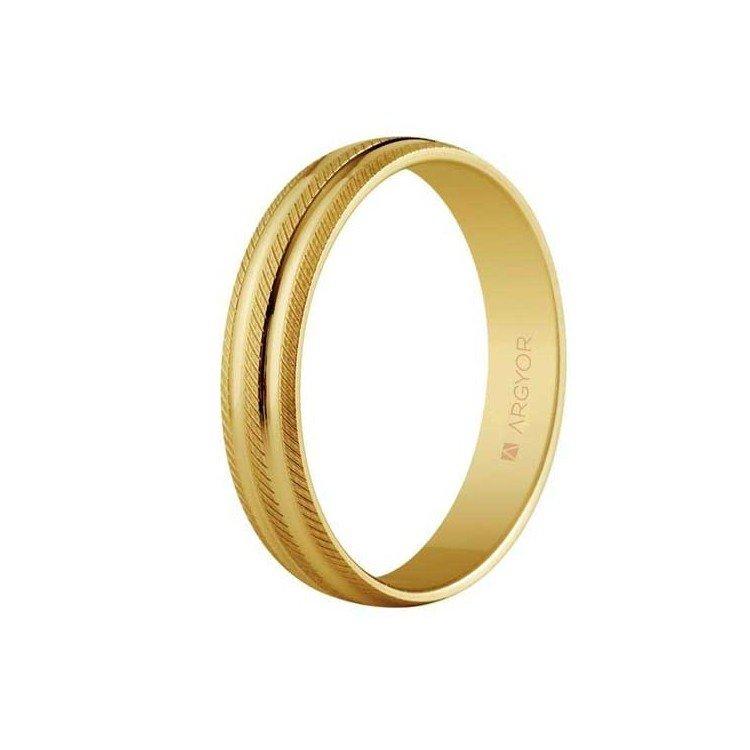 Anel de casamento em ouro 18 quilates canelado