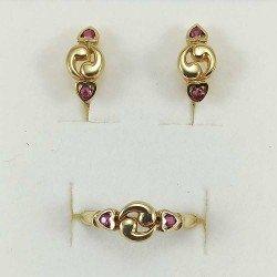 copy of Conjunto de anillo y pendientes de niña en oro de ley 18 quilates