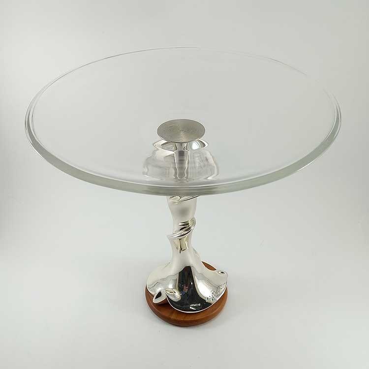 Centro de mesa de cristal y plata en forma de flor
