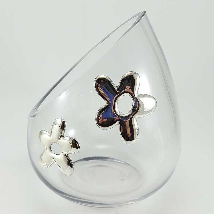 copy of Centro de mesa de cristal y plata en forma de flor