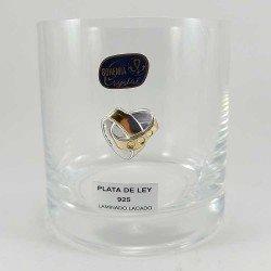 copy of Juego de vasos de tubo y jarra de cristal de Bohemia con aros de boda