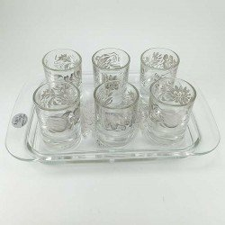 Juego de vasos de chupito y bandeja en cristal decorado