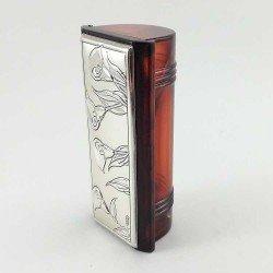 Estuche para pintalabios en plata bilaminada y con espejo