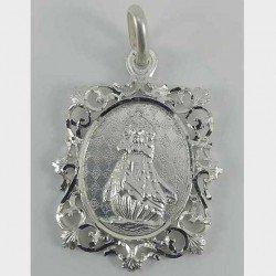 Medalla cuadrada de la Virgen de la Barquera en plata 925
