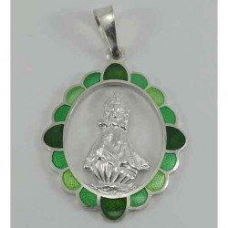 Medalla esmaltada de la Virgen de la Barquera en plata 925