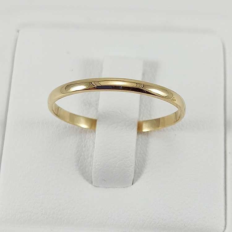 Alianza de boda clásica artesanal. Oro de ley 18k. Varios tamaños.