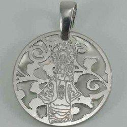 Medalla de plata 925 y nacar de la Virgen de la Barquera