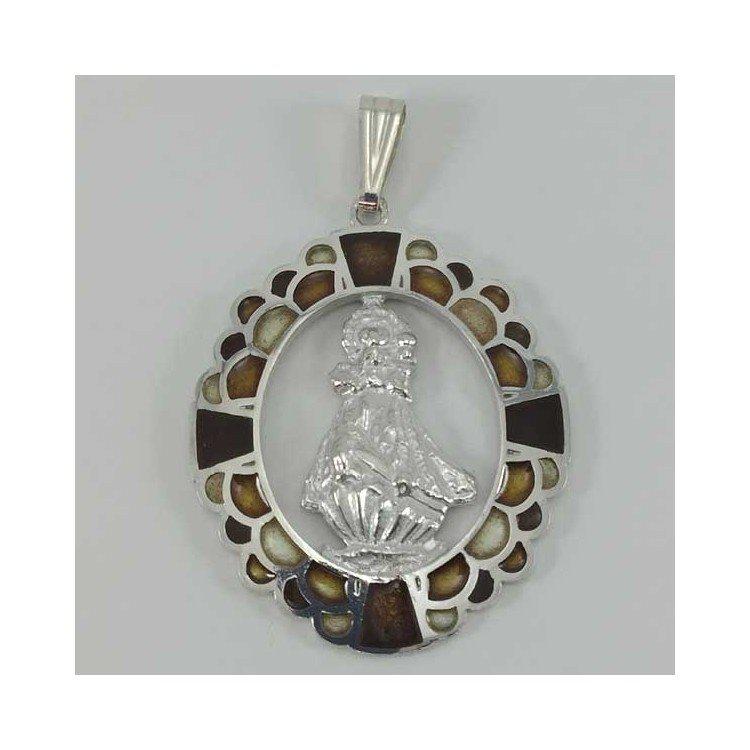 Medalla Virgen de la Barquera de plata y esmalte