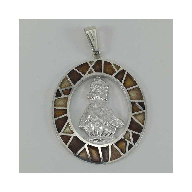 Medalla de la Virgen de la Barquera en plata de ley y esmalte