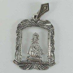 Medalla calada de la Virgen de la Barquera de plata envejecida