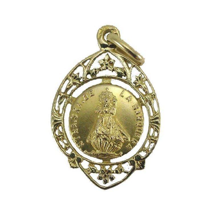 Medalla de Nuestra Señora de la Barquera en oro 18 k