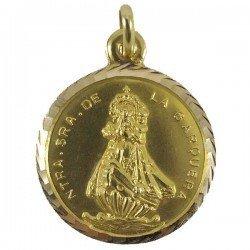 Medalla clásica de la Virgen de la Barquera de oro de ley 18 quilates