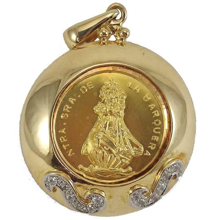 Medallón de la Virgen de la Barquera en oro de ley 18 quilates