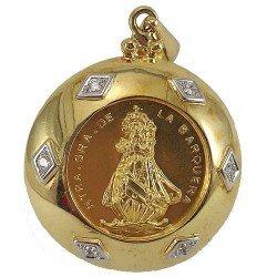 Medallón de la Nuestra Señora de la Barquera en oro 18 k