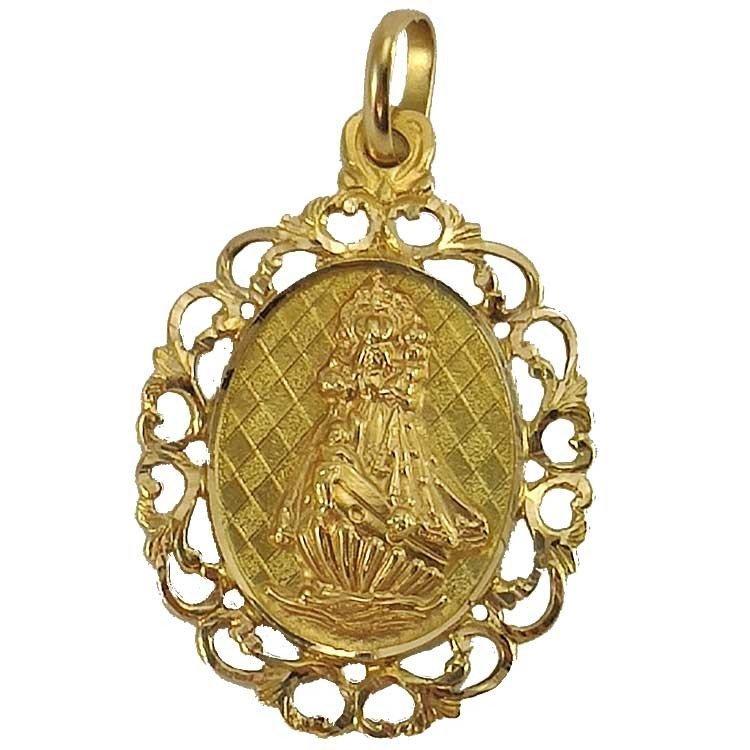 Chapa de la Virgen de la Barquera en oro de ley 18 kilates