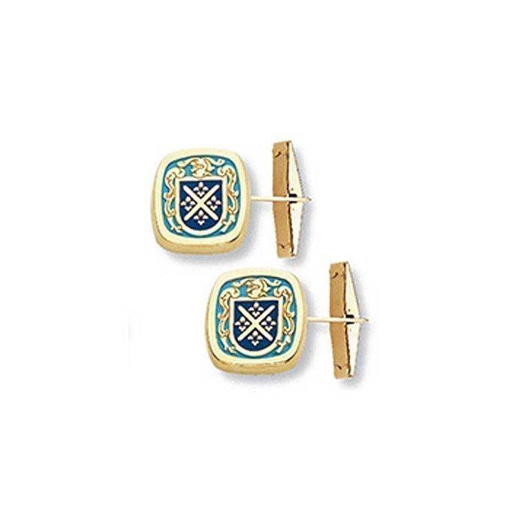 Gemelos con escudo heráldico de tu apellido en oro de ley 18 quilates