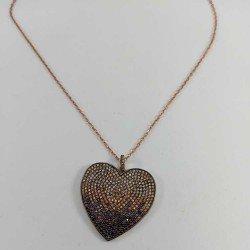 Collar de corazón con circonitas de color en plata chapada en oro rosa