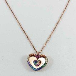 Collar corazón de colores en plata de ley chapada en oro rosa