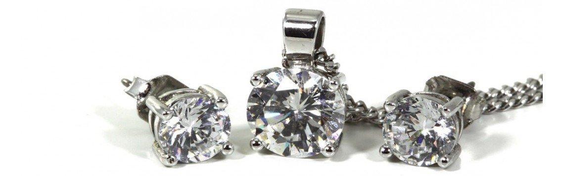 Conjuntos de plata de ley 925 de collar y pendientes para mujer y niña