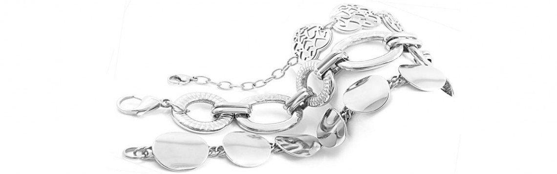 Gioielli in acciaio inossidabile. Bracciali, anelli, collane ...