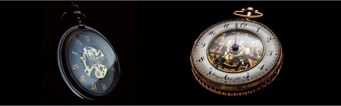 Relógio de bolso masculino com corrente gravada e personalizada.