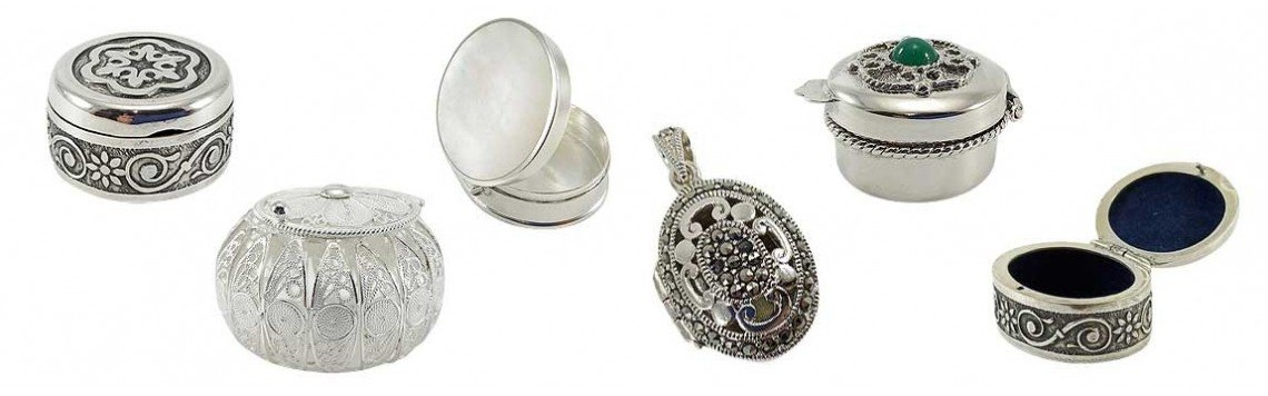Piluliers de poche ou pendentif argenté ou métallique