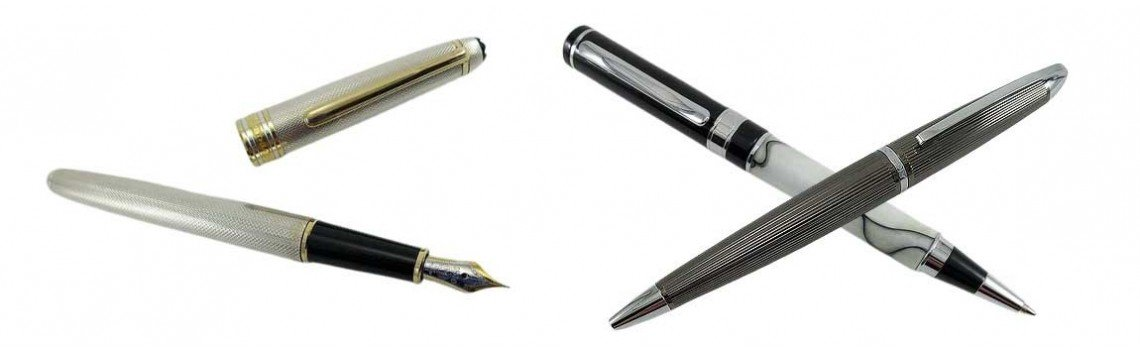 Canetas esferográficas e canetas-tinteiro personalizadas homem mulher.