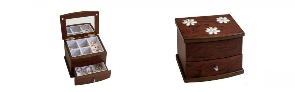 Wooden jewelry boxes and silver ornaments for women and girls